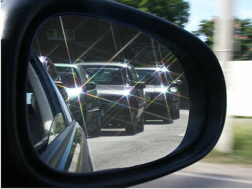 cars in mirror